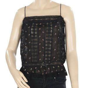 Free People Floral Printed Lace Ruffle Sheer Top L